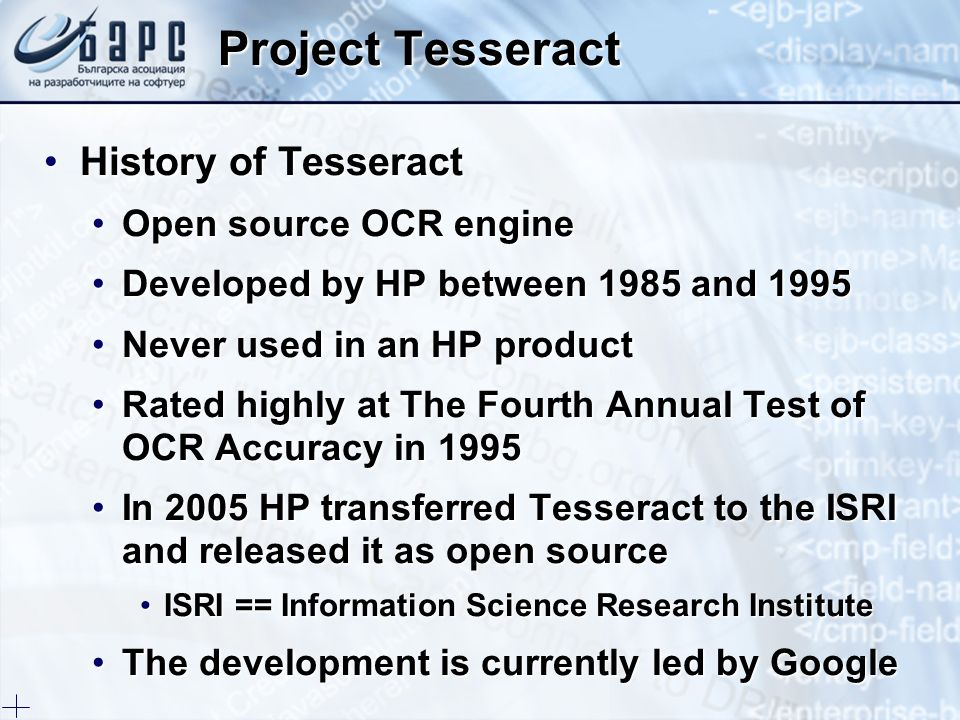 Project Tesseract History of Tesseract Open source OCR engine