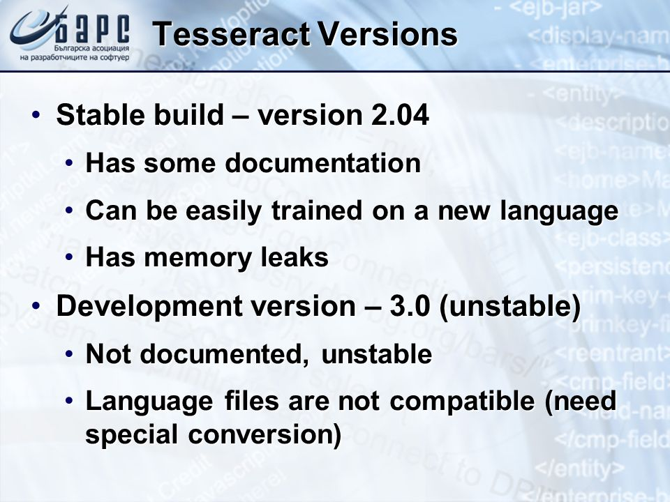 Tesseract Versions Stable build – version 2.04