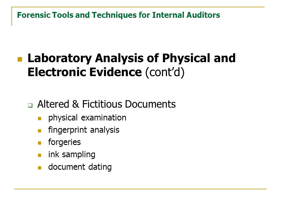 Forensic Tools and Techniques for Internal Auditors