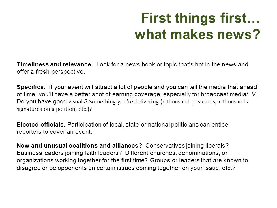 First things first… what makes news