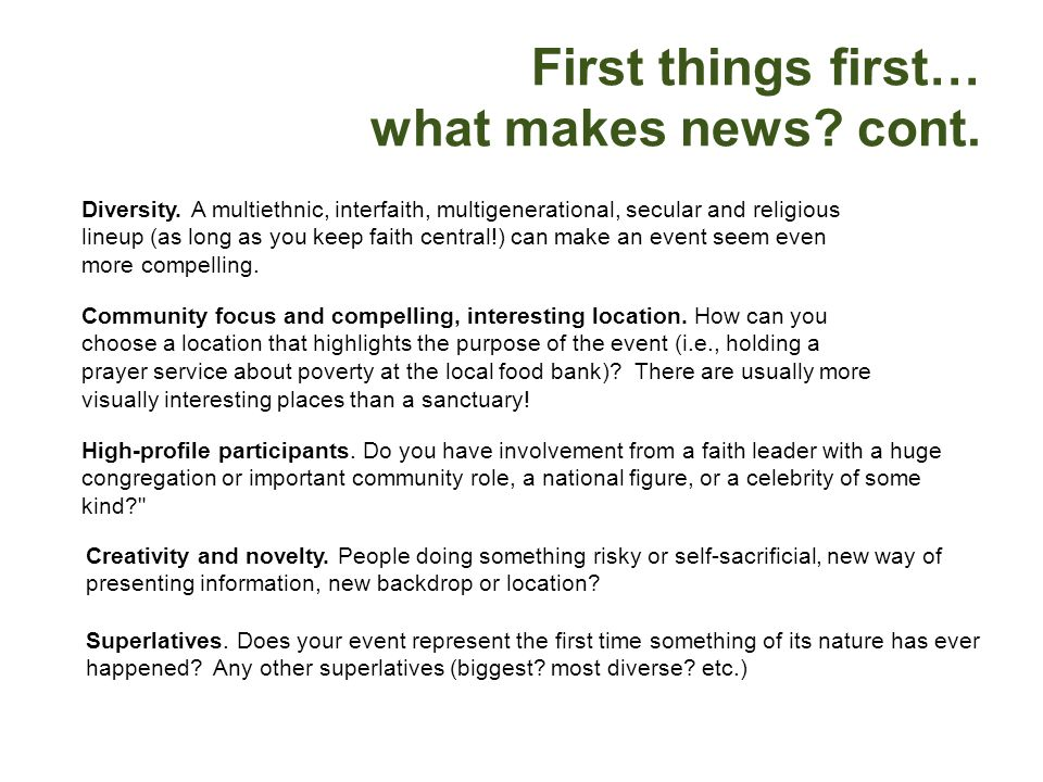 First things first… what makes news cont.