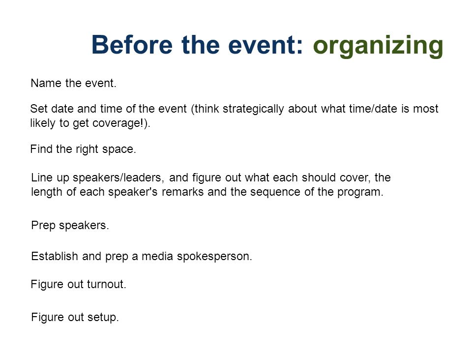 Before the event: organizing