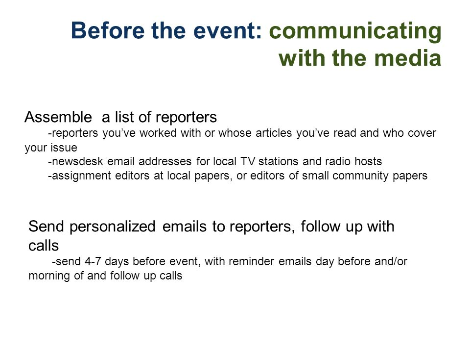 Before the event: communicating with the media