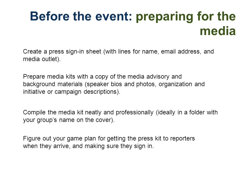 Before the event: preparing for the media