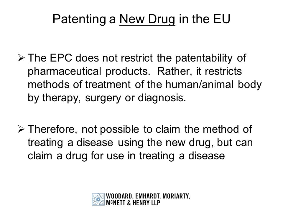 Patenting a New Drug in the EU