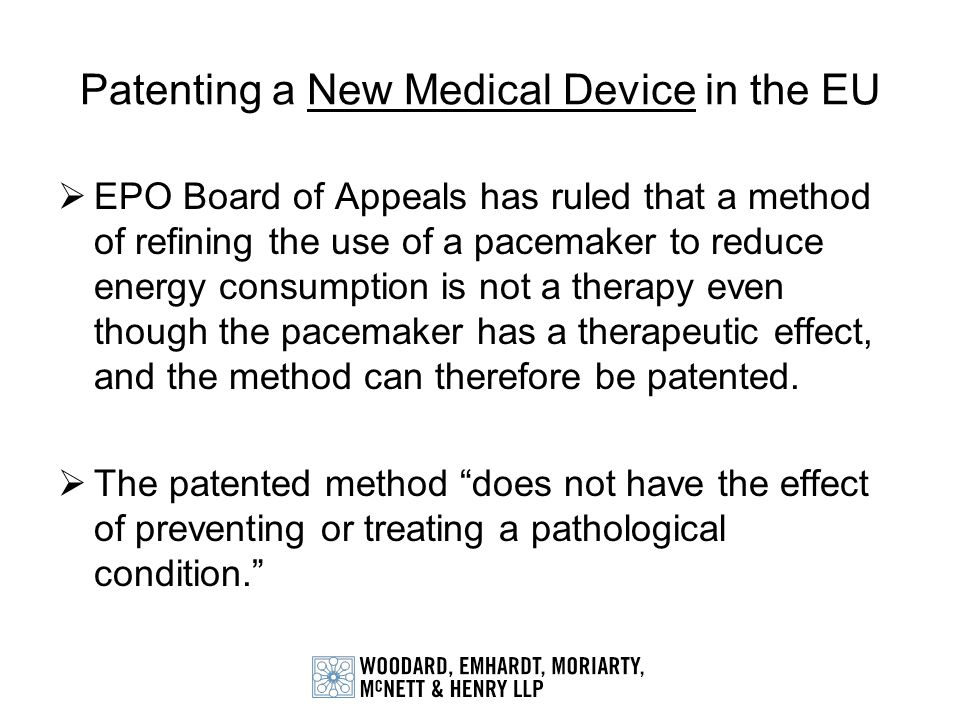 Patenting a New Medical Device in the EU