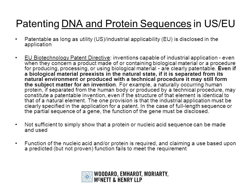 Patenting DNA and Protein Sequences in US/EU
