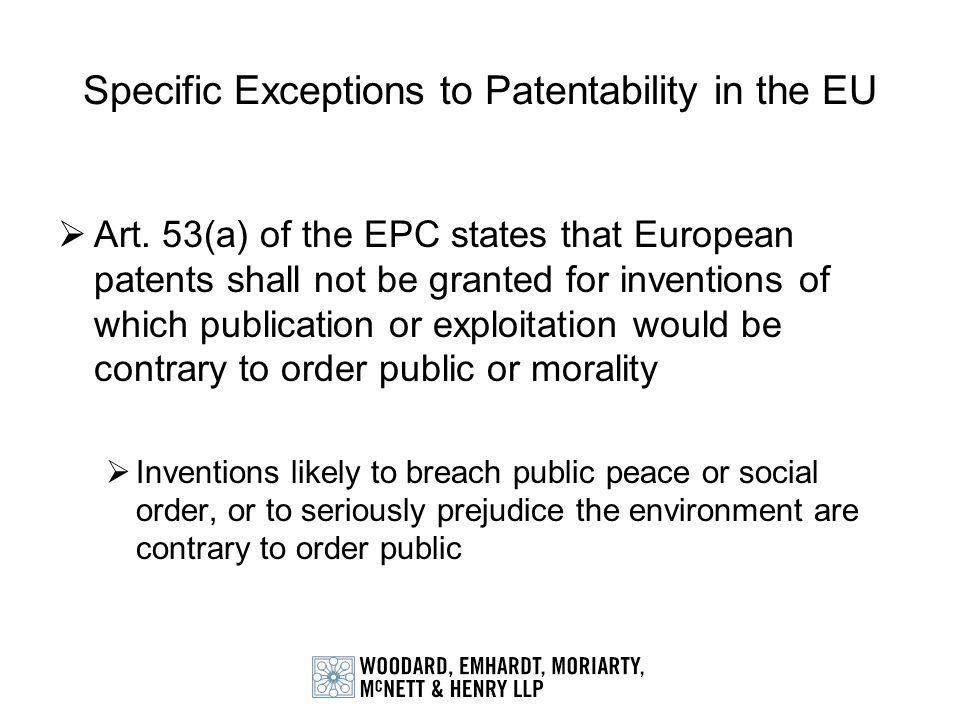 Specific Exceptions to Patentability in the EU