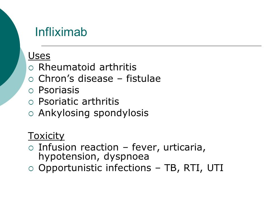 Infliximab Uses Rheumatoid arthritis Chron's disease – fistulae