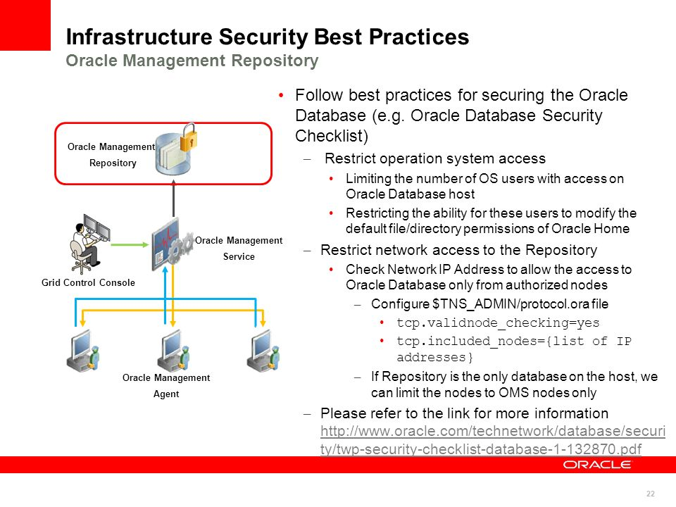 Infrastructure Security Best Practices Oracle Management Repository