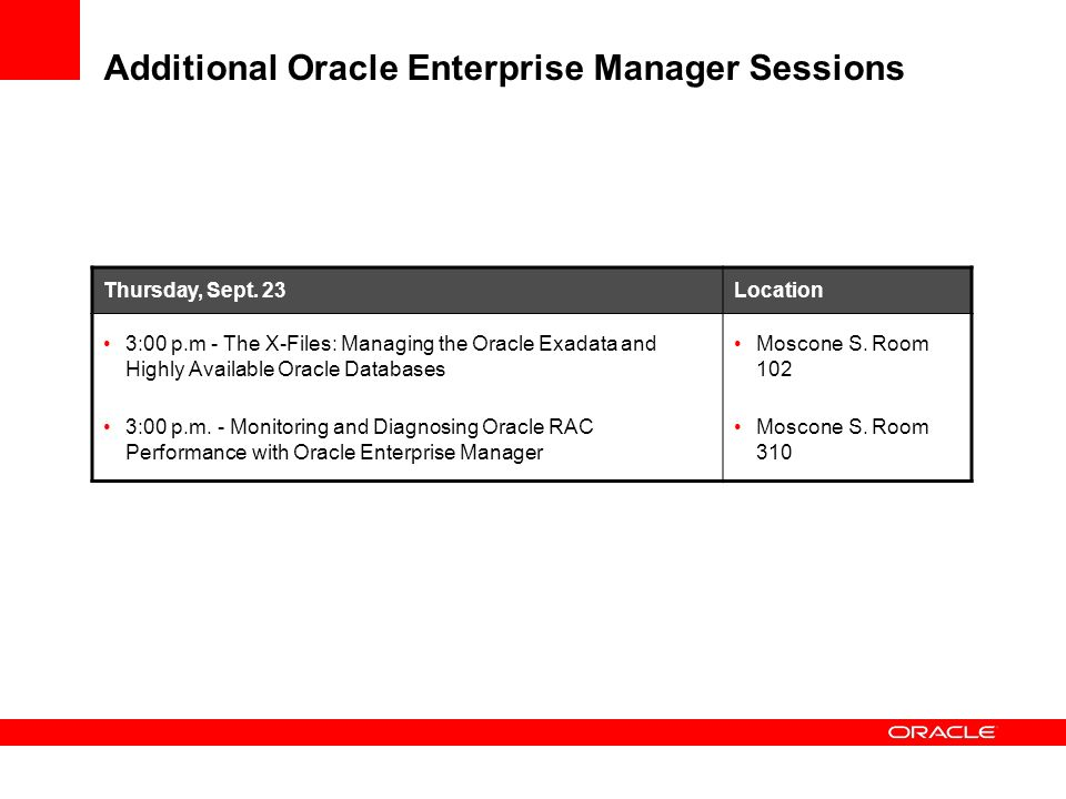 Additional Oracle Enterprise Manager Sessions