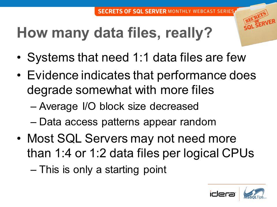 How many data files, really