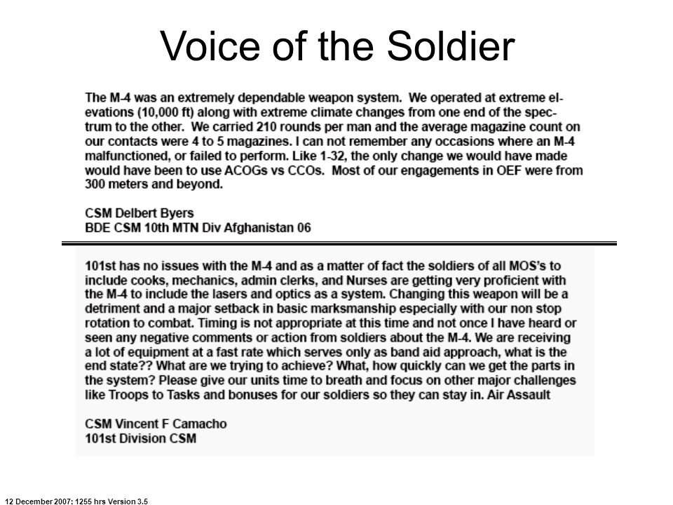 Voice of the Soldier 12 December 2007; 1255 hrs Version 3.5