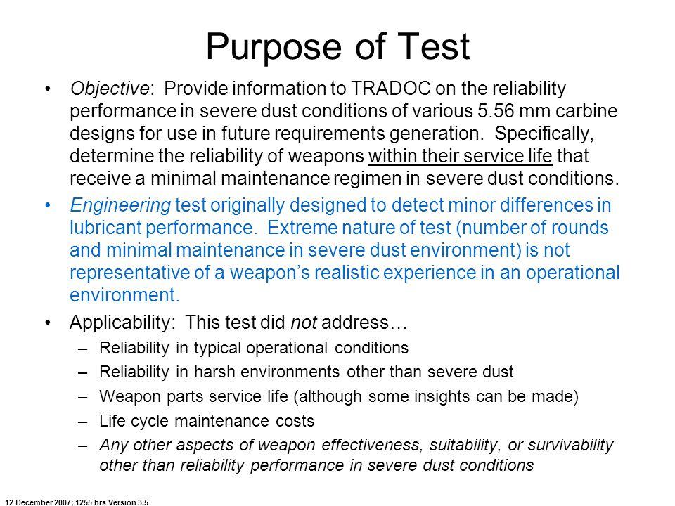 Purpose of Test