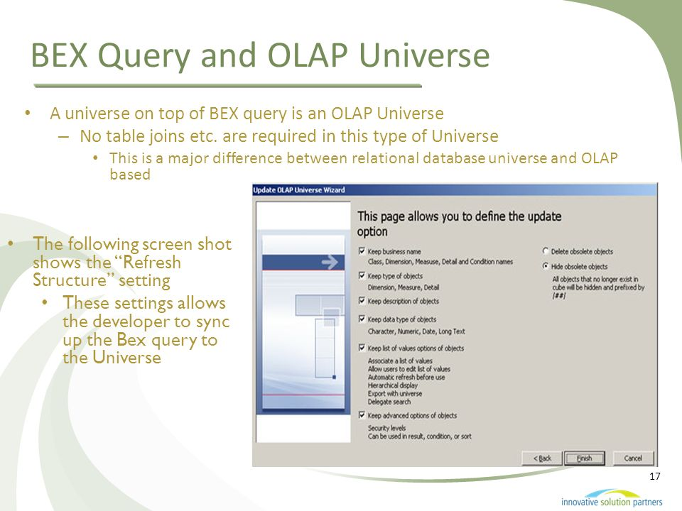 BEX Query and OLAP Universe
