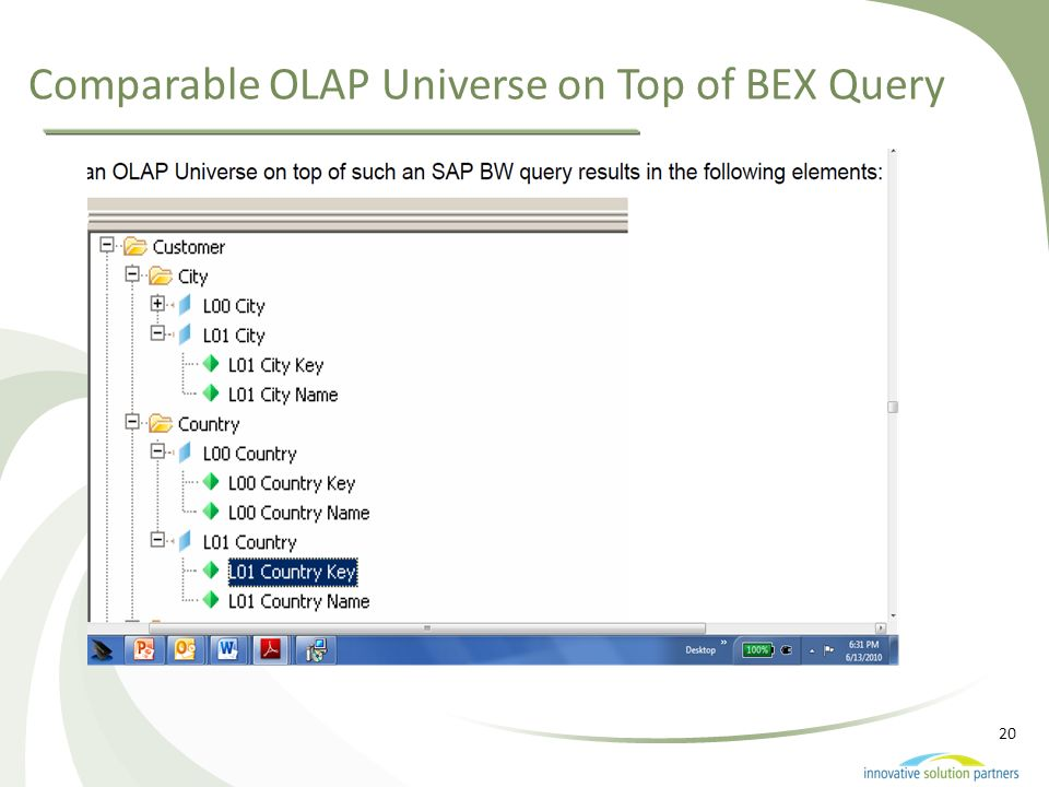 Comparable OLAP Universe on Top of BEX Query
