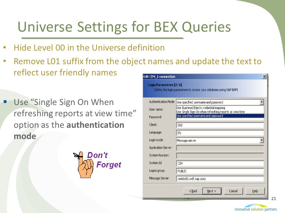 Universe Settings for BEX Queries