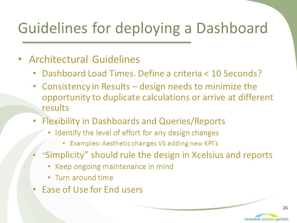 Guidelines for deploying a Dashboard