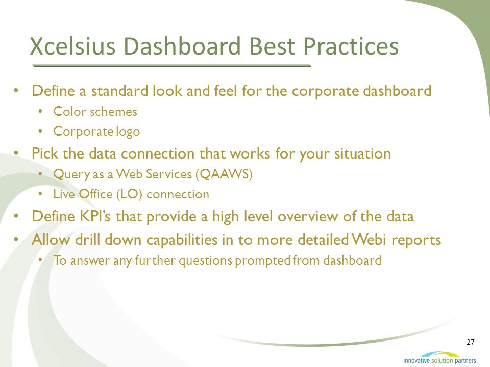 Xcelsius Dashboard Best Practices