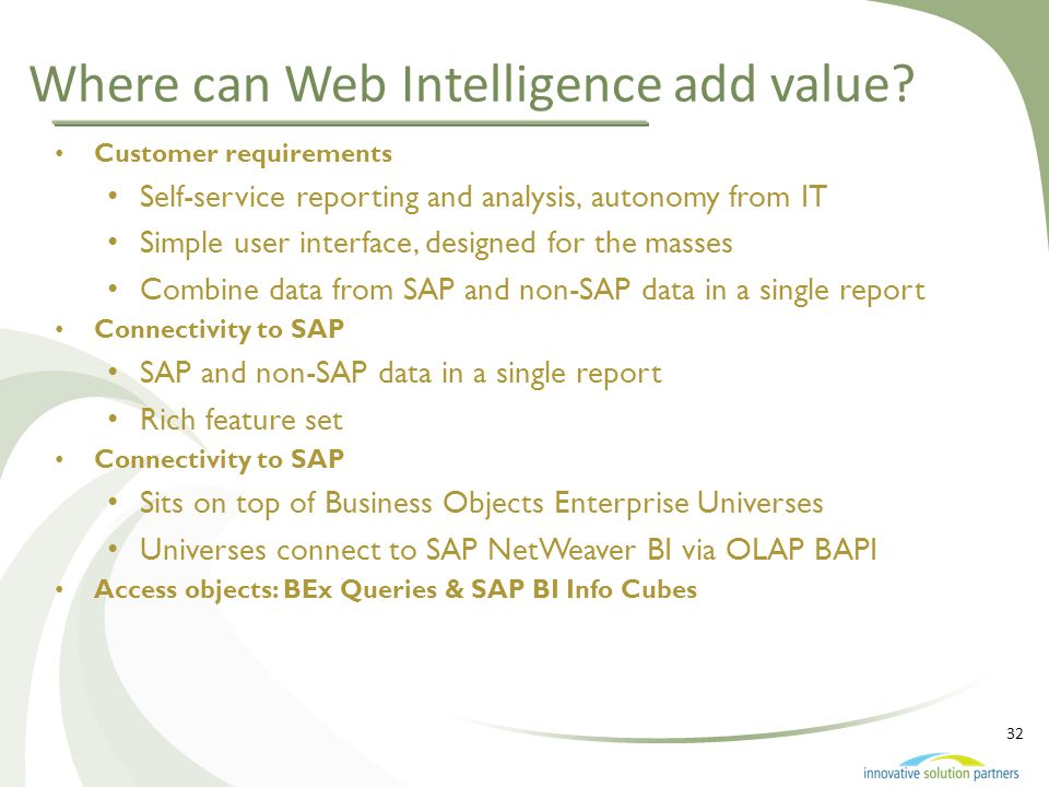 Where can Web Intelligence add value