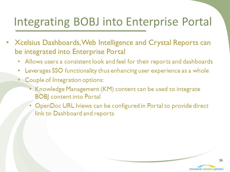 Integrating BOBJ into Enterprise Portal