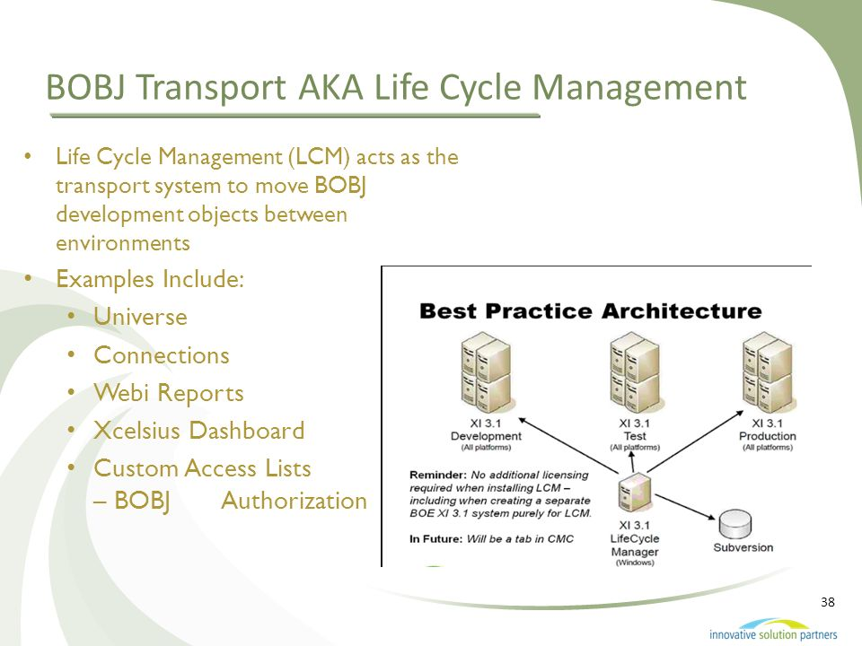 BOBJ Transport AKA Life Cycle Management