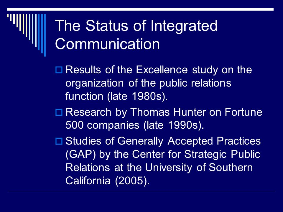 The Status of Integrated Communication