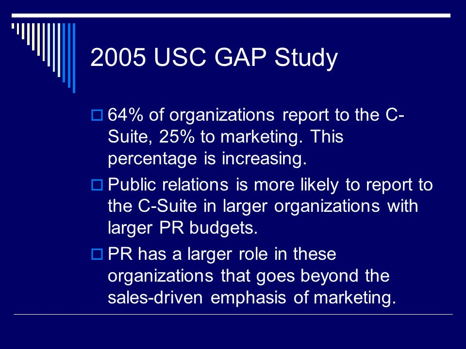 2005 USC GAP Study 64% of organizations report to the C-Suite, 25% to marketing. This percentage is increasing.