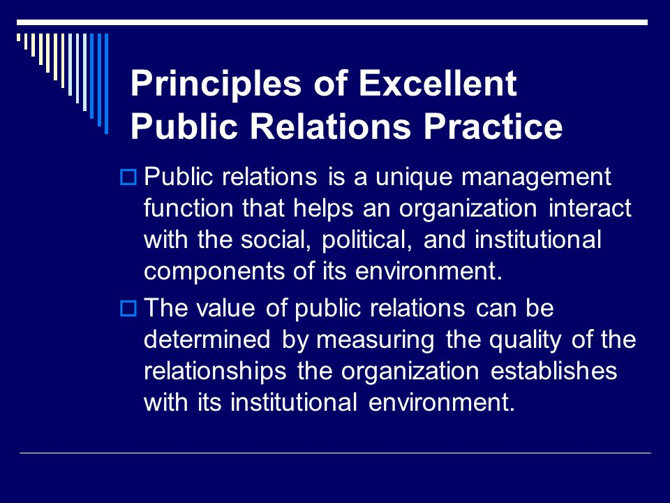 Principles of Excellent Public Relations Practice
