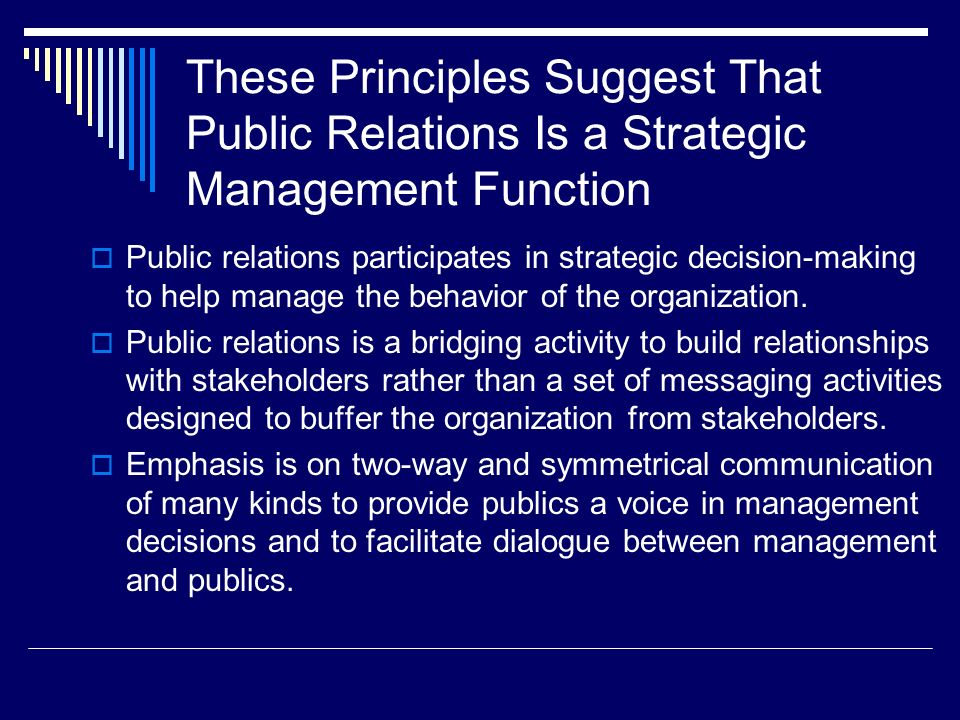 These Principles Suggest That Public Relations Is a Strategic Management Function