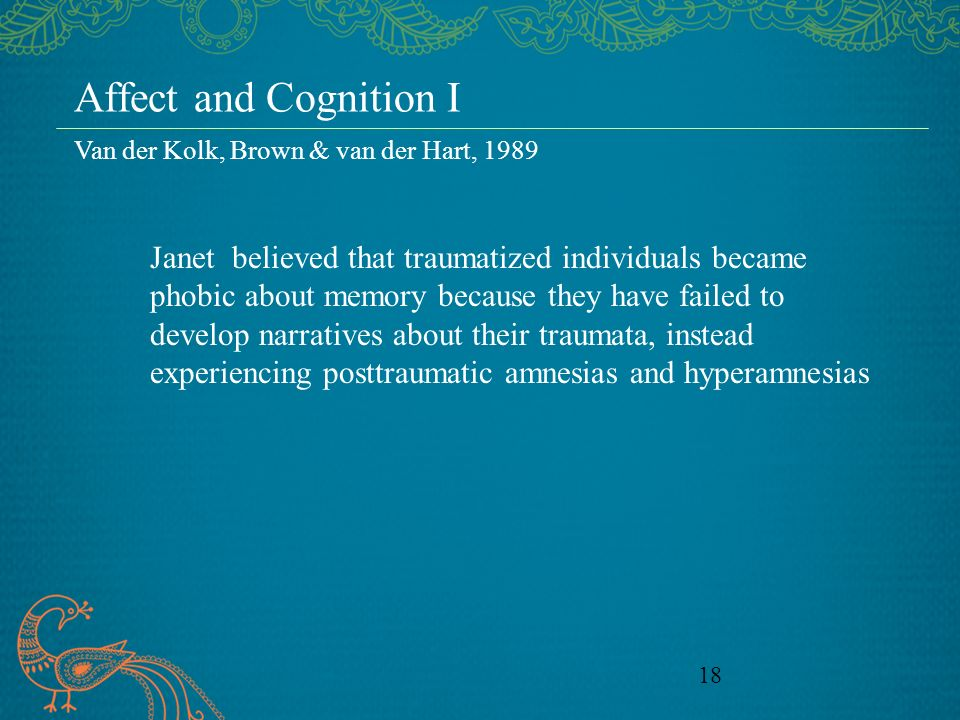 Affect and Cognition IVan der Kolk, Brown & van der Hart, 1989.