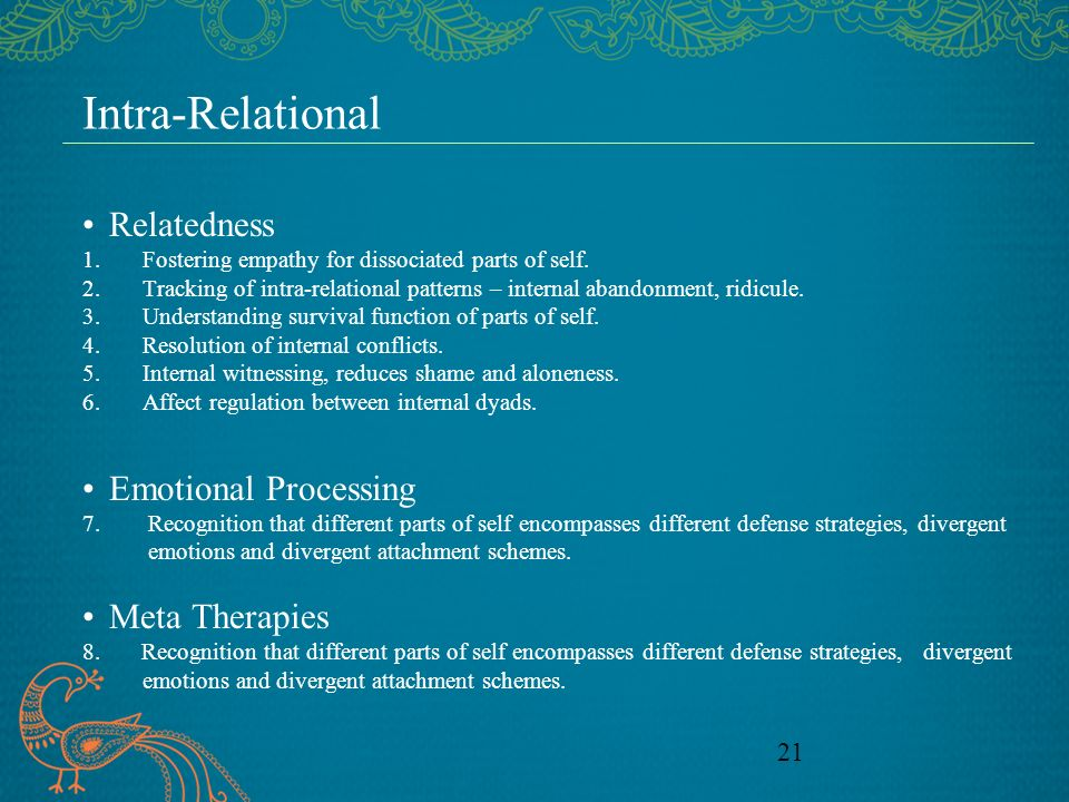 Intra-Relational Relatedness Emotional Processing Meta Therapies
