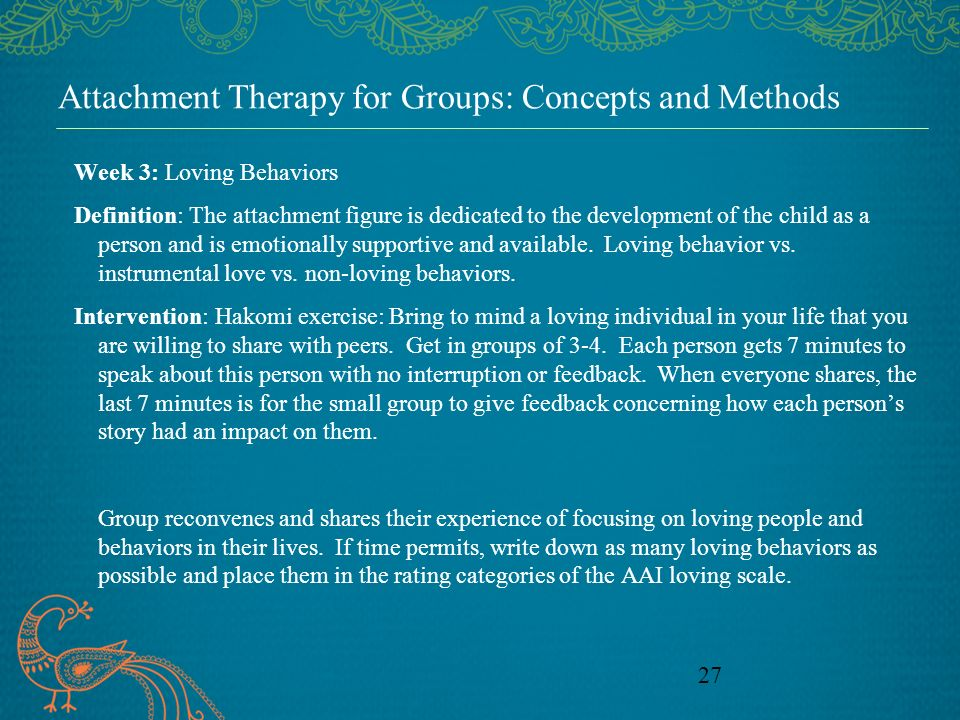 Attachment Therapy for Groups: Concepts and Methods