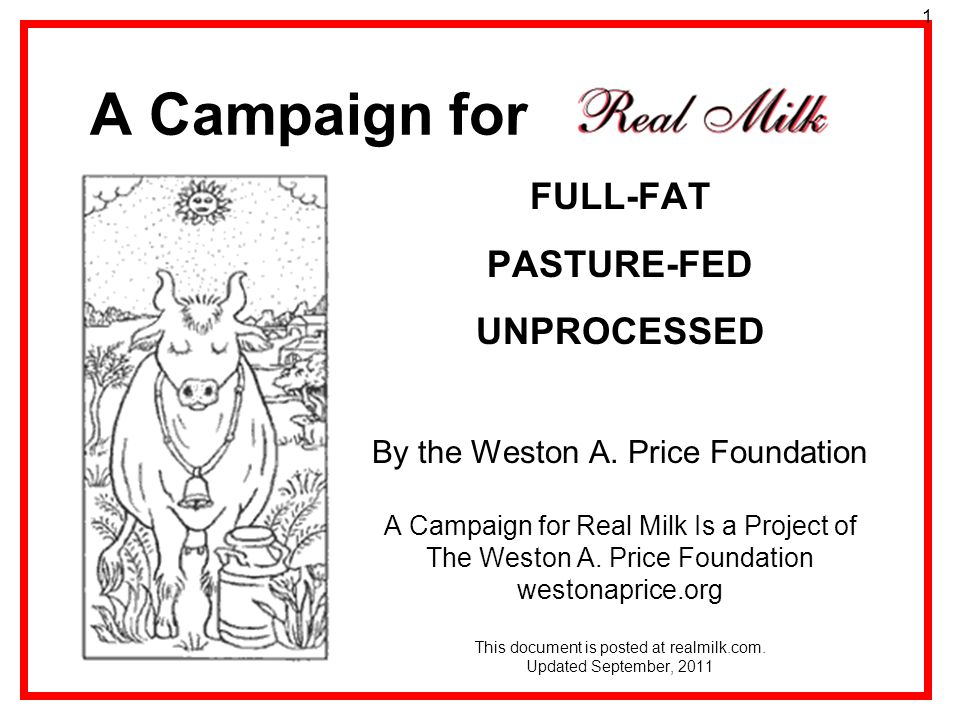 A Campaign for FULL-FAT PASTURE-FED UNPROCESSED