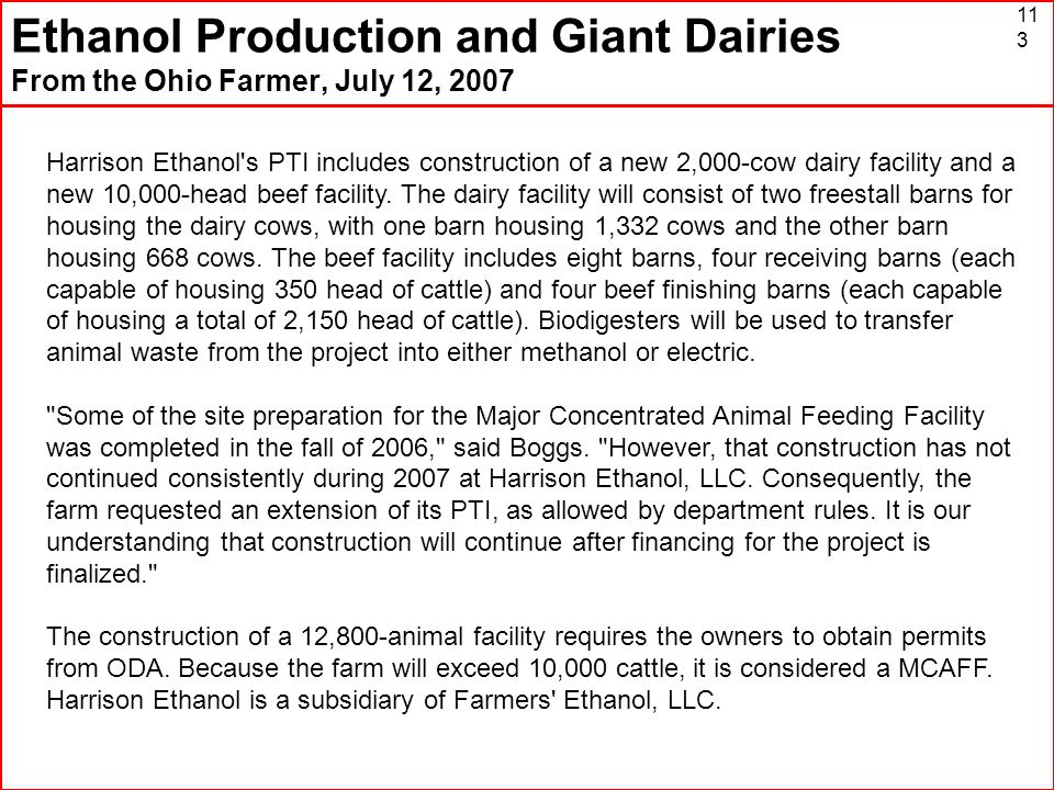 Ethanol Production and Giant Dairies From the Ohio Farmer, July 12, 2007