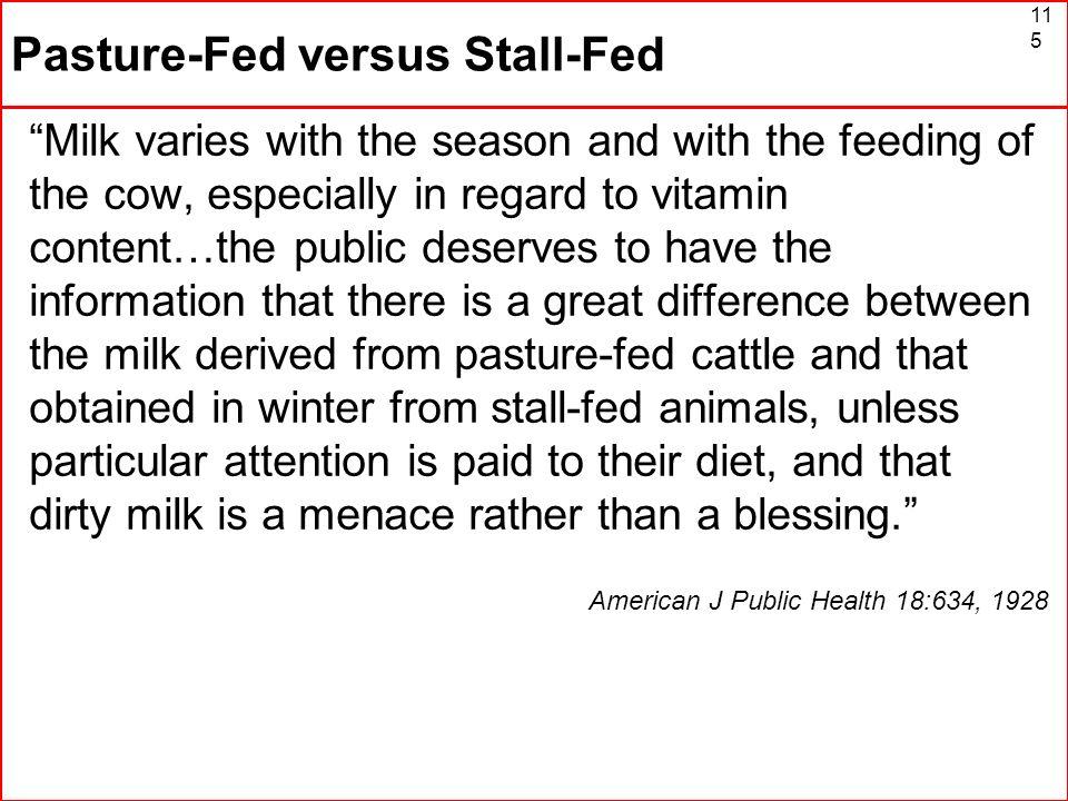Pasture-Fed versus Stall-Fed