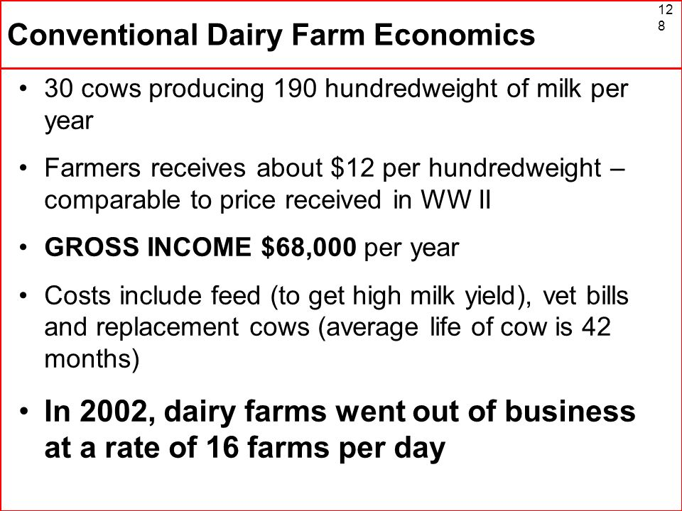 Conventional Dairy Farm Economics