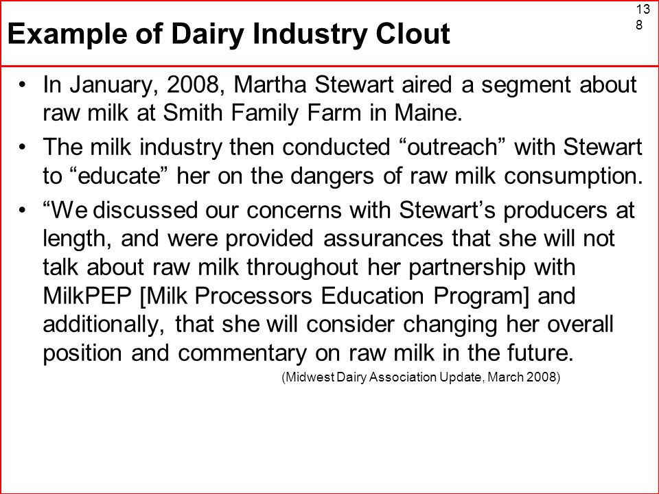 Example of Dairy Industry Clout