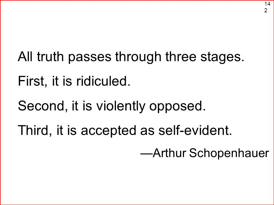 All truth passes through three stages. First, it is ridiculed.