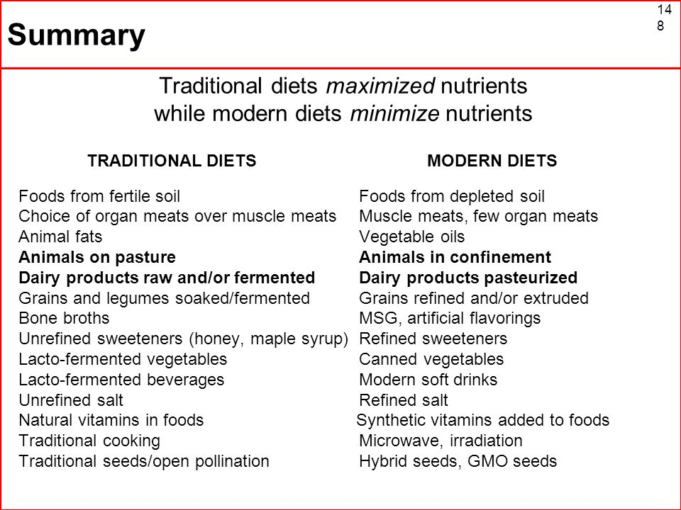 Summary Traditional diets maximized nutrients while modern diets minimize nutrients. TRADITIONAL DIETS MODERN DIETS.