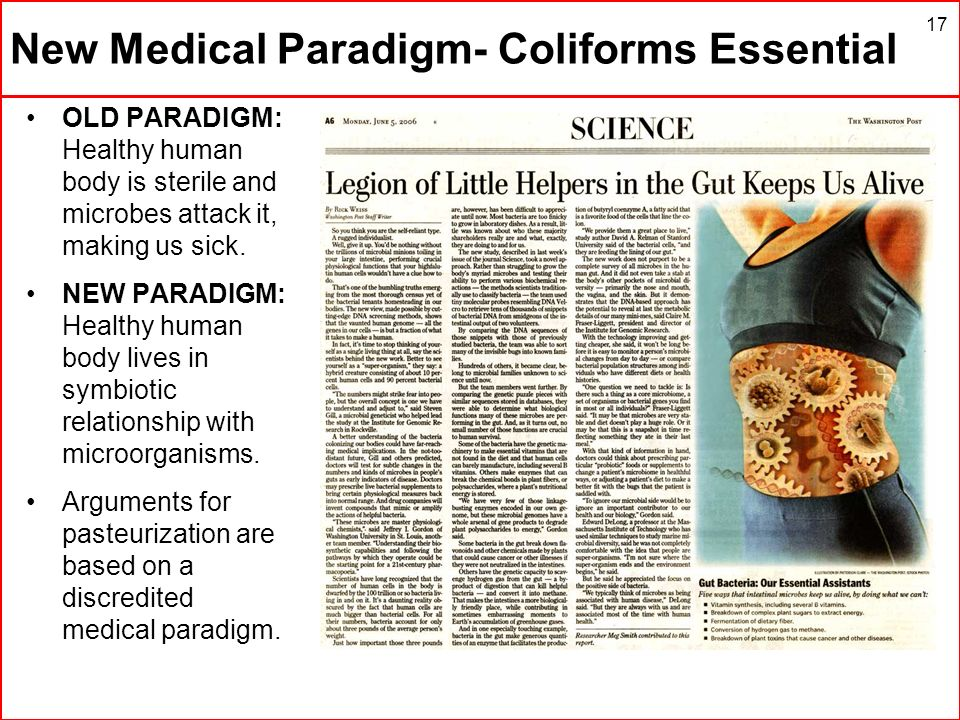 New Medical Paradigm- Coliforms Essential