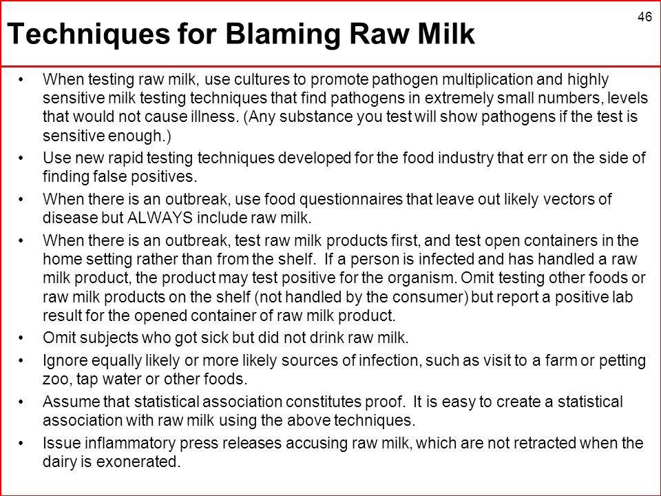 Techniques for Blaming Raw Milk