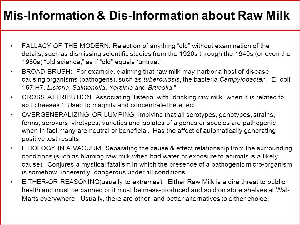 Mis-Information & Dis-Information about Raw Milk