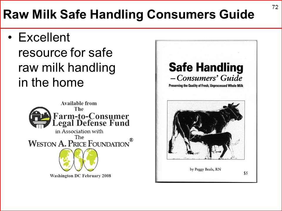 Raw Milk Safe Handling Consumers Guide