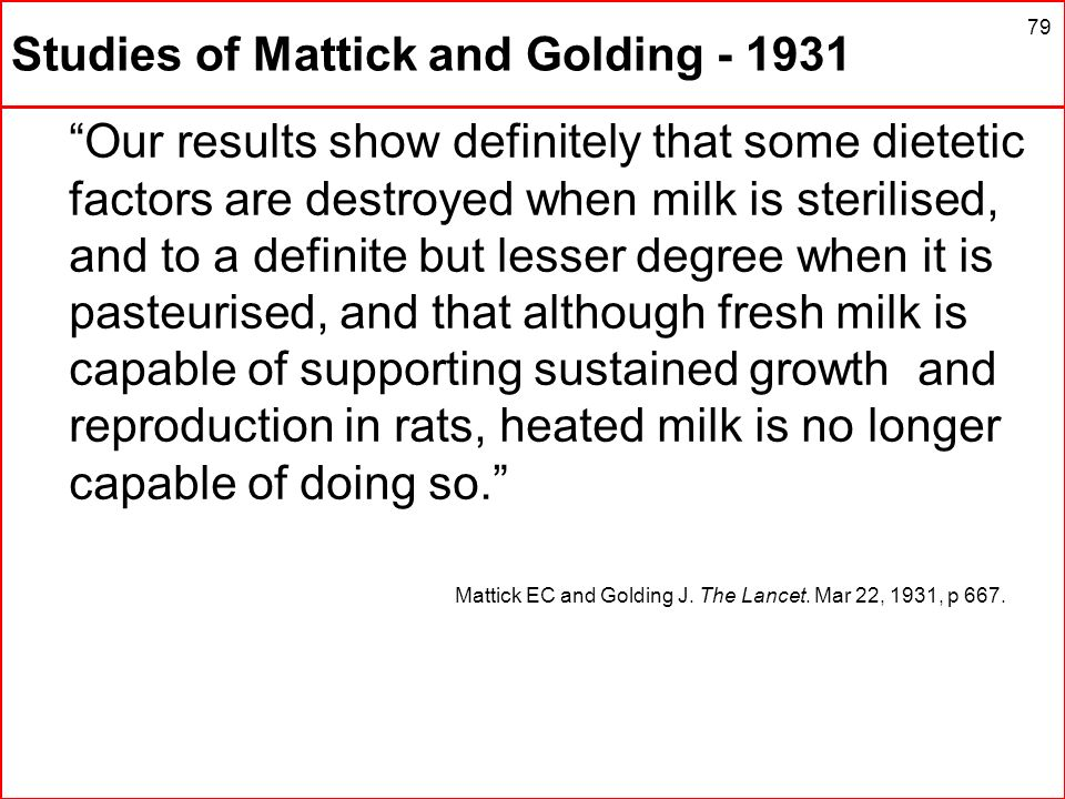 Studies of Mattick and Golding - 1931