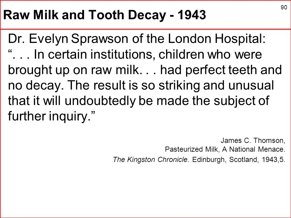 Raw Milk and Tooth Decay - 1943