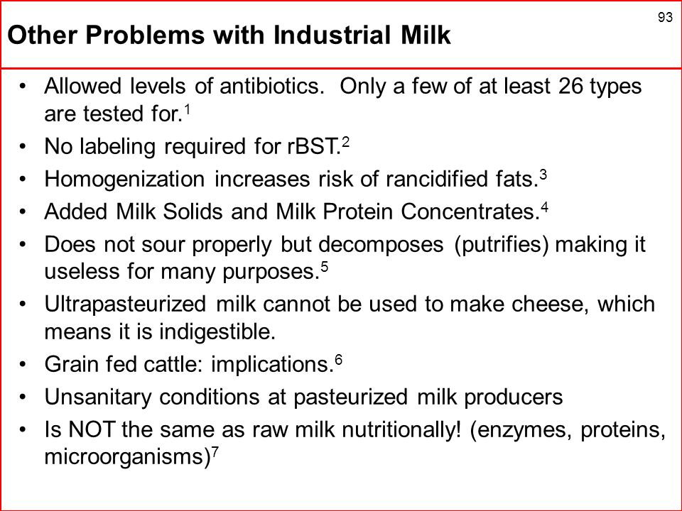 Other Problems with Industrial Milk