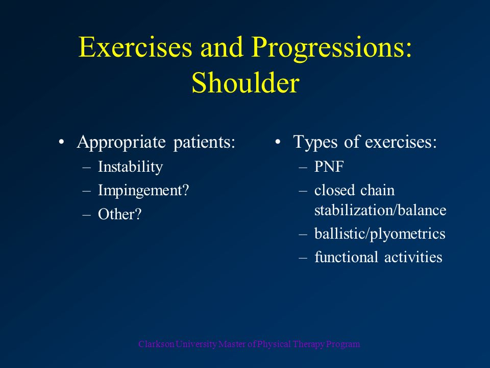 Exercises and Progressions: Shoulder