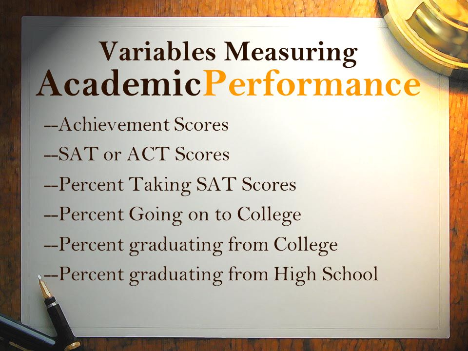 Variables Measuring AcademicPerformance