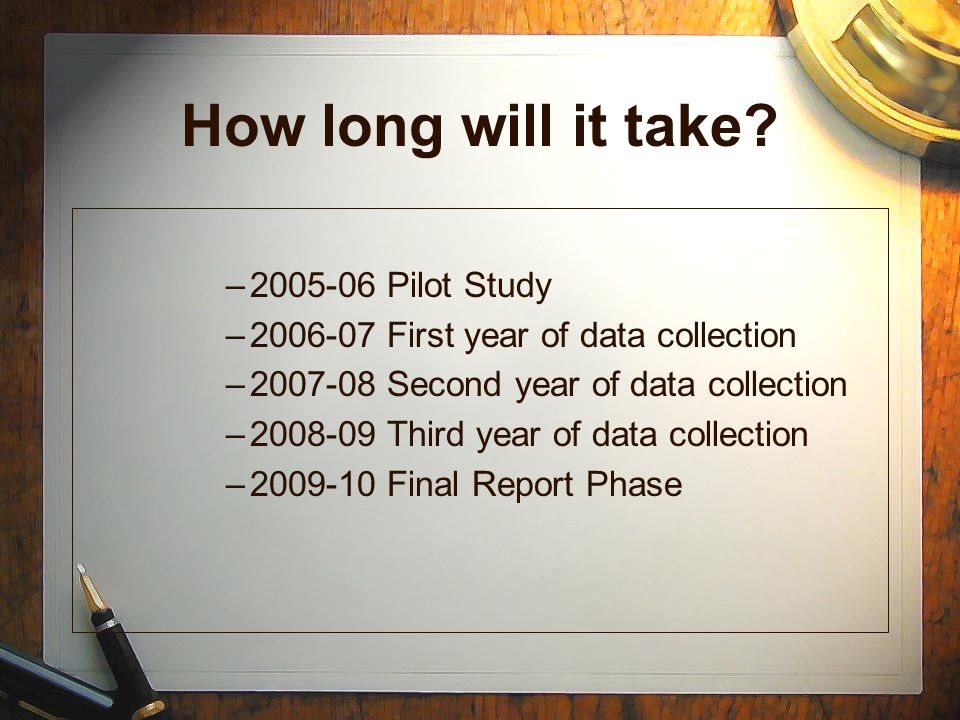 How long will it take 2005-06 Pilot Study